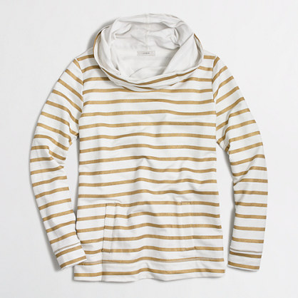 Striped funnelneck sweatshirt with pockets