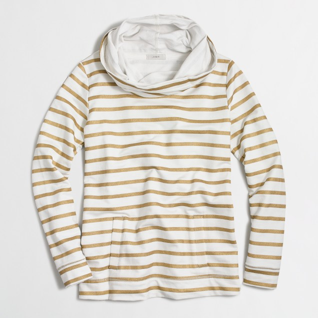 Striped funnelneck sweatshirt with pockets