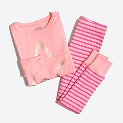 Girls' foil star and striped pajama set
