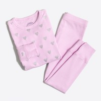 Girls' glitter heart pajama set