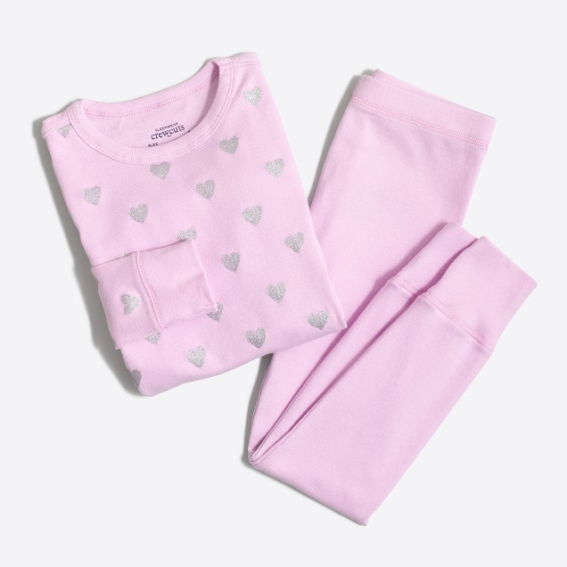 Girls' glitter heart pajama set