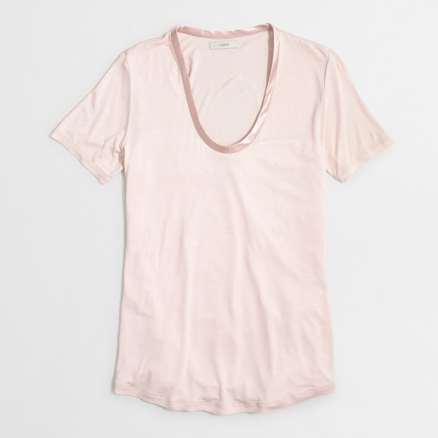 Satin neckline T-shirt