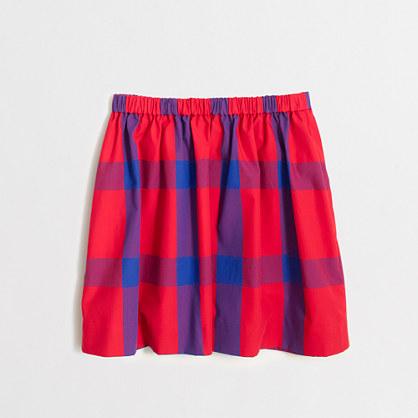Girls' tartan plaid poplin skirt