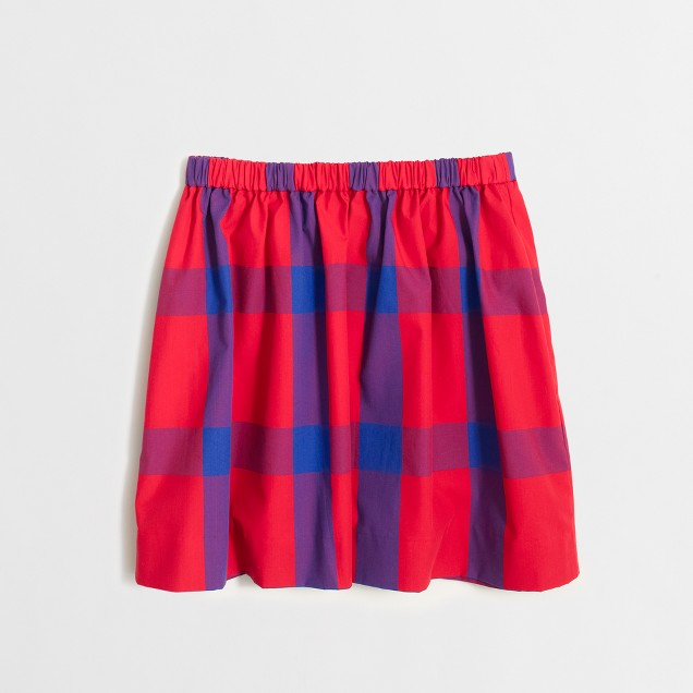 Girls' tartan plaid poplin skirt