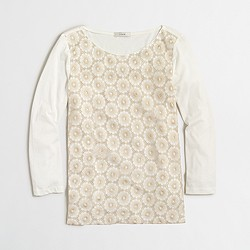 Factory floral lace three-quarter sleeve T-shirt