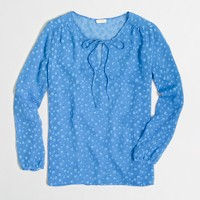 Clip dot tie-neck blouse