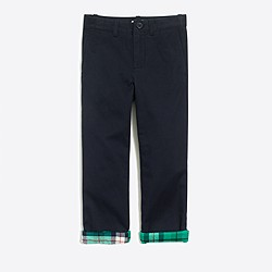 Boys' flannel-lined chino