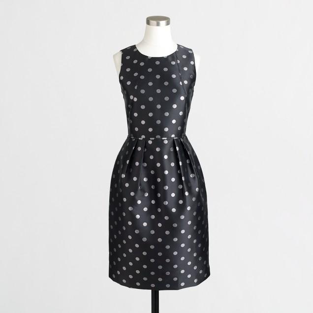 Petite silver-dot jacquard dress