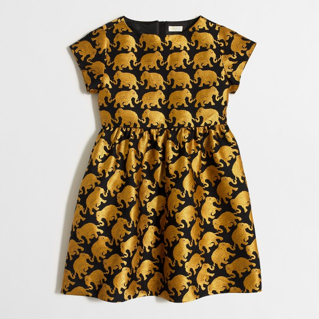 Girls' golden elephant dress