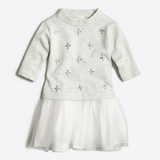 Girls' embellished sweatshirt tulle dress