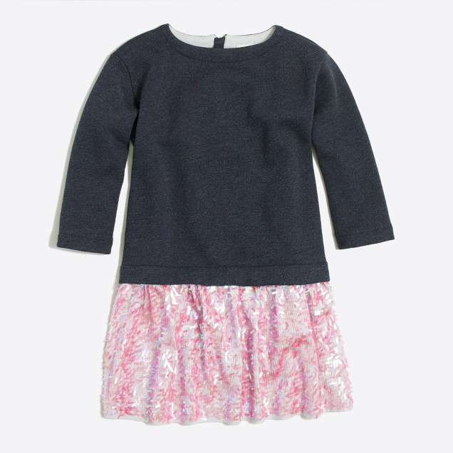 Girls' sequin-skirt sweatshirt dress