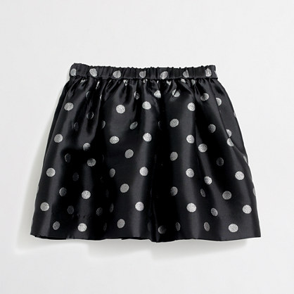 Girls' shiny polka-dot skirt
