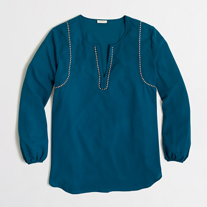 Cord-trim blouse