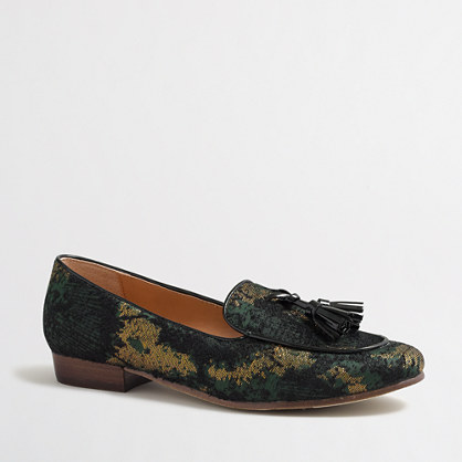 Shimmer stacked-heel loafers