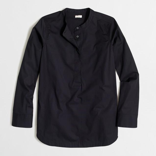 Collarless popover shirt