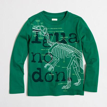 Boys' long-sleeve glow-in-the-dark Iguanodon storybook T-shirt