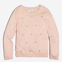 Girls' jeweled clusters popover sweater