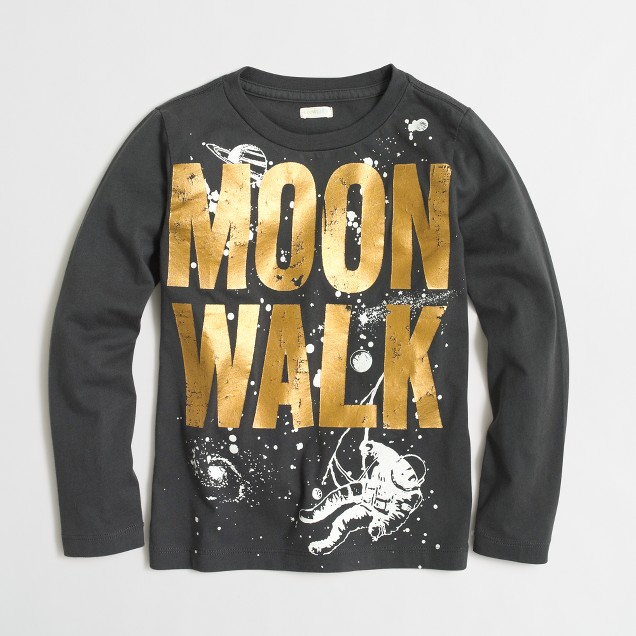 Boys' long-sleeve glow-in-the-dark moonwalk storybook T-shirt