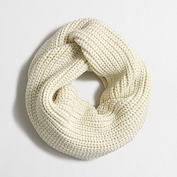 Factory metallic-ribbed knit scarf