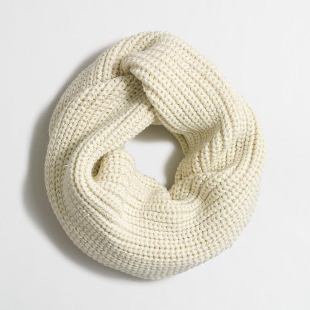 Metallic-ribbed knit scarf