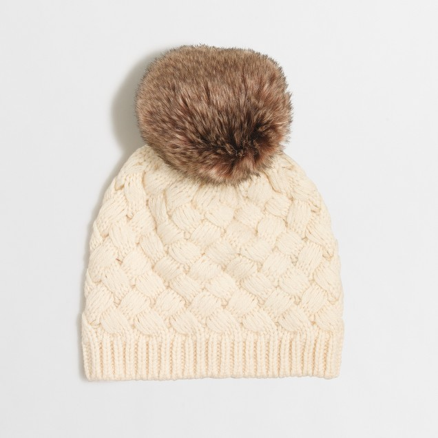 Knit hat with faux-fur pom-pom