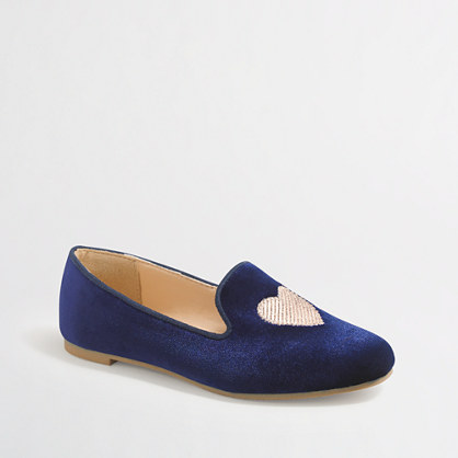 Girls' velvet heart loafers