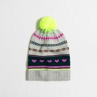 Girls' heart Fair Isle hat