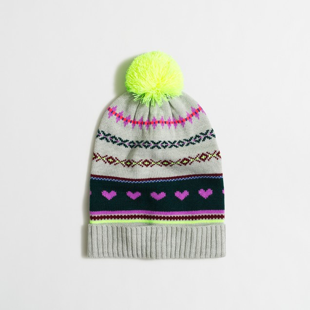 Girls' heart Fair Isle hat