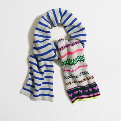 Girls' heart Fair Isle scarf