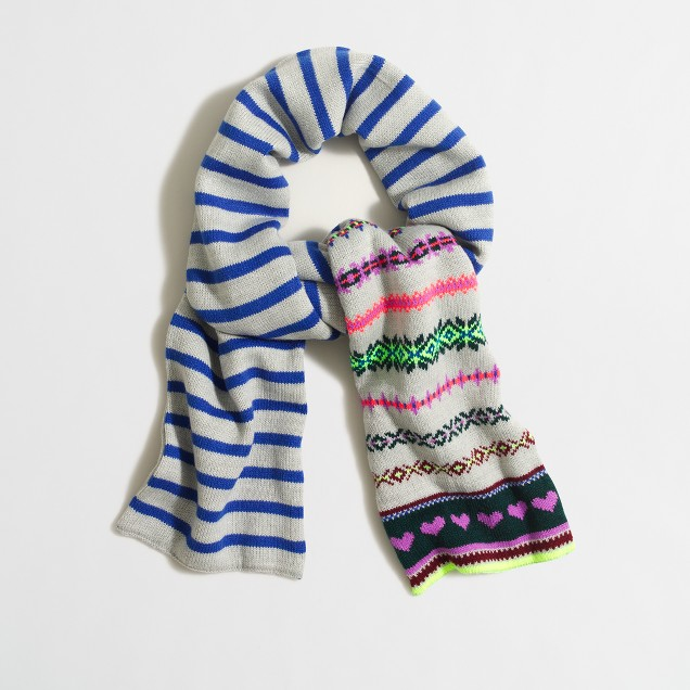 Girls' heart Fair Isle scarf