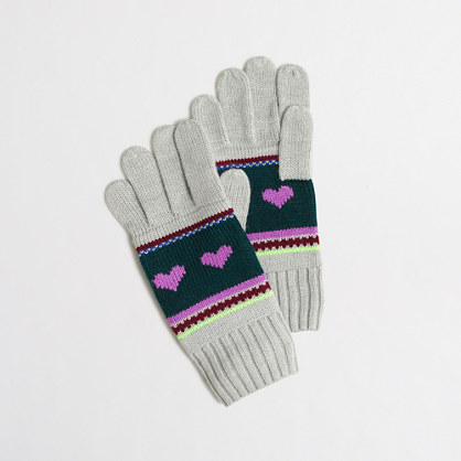 Girls' heart Fair Isle gloves