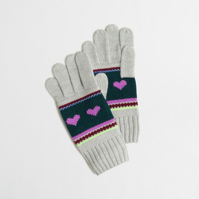 Girls' heart Fair Isle gloves