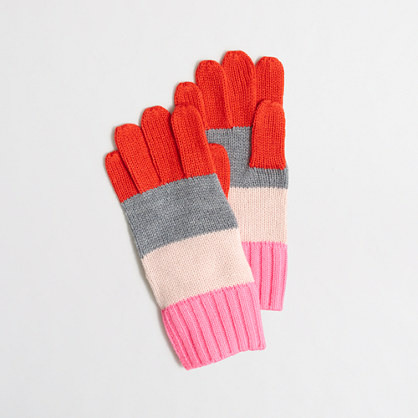 Girls' mixed-stripe gloves