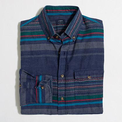 Slim multi-striped brushed twill shirt