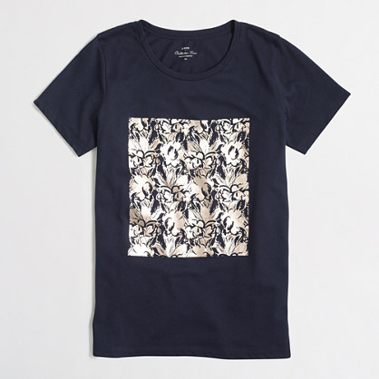 Foil floral collector T-shirt in airy cotton