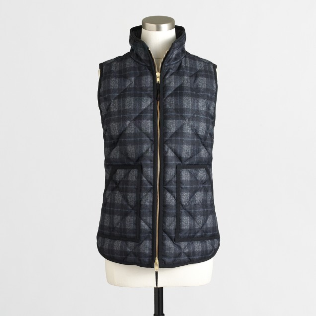 Plaid quilted puffer vest