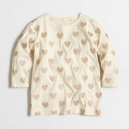 Girls' glitter hearts T-shirt