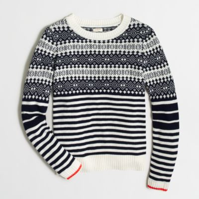 Fair Isle sweater with stripes : FactoryWomen Pullovers | Factory