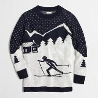 Intarsia ski scene sweater