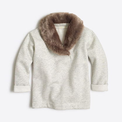 Girls' faux-fur-collar sweatshirt