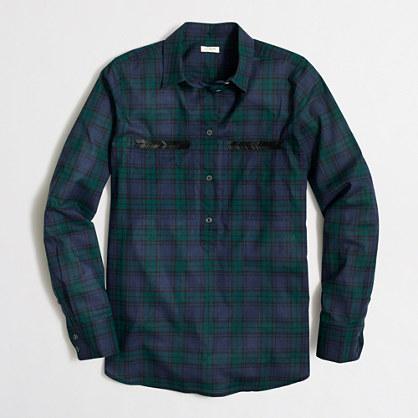 Beaded plaid popover shirt