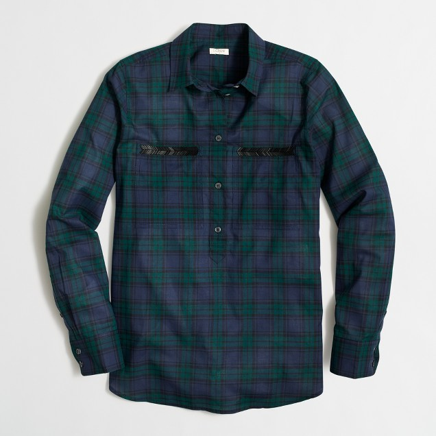 Beaded plaid popover shirt