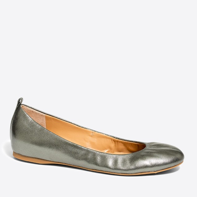 Anya metallic leather ballet flats