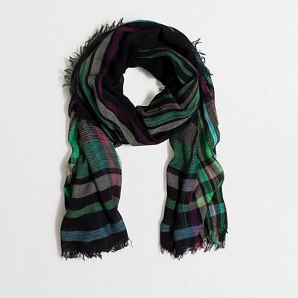 Sketched plaid scarf