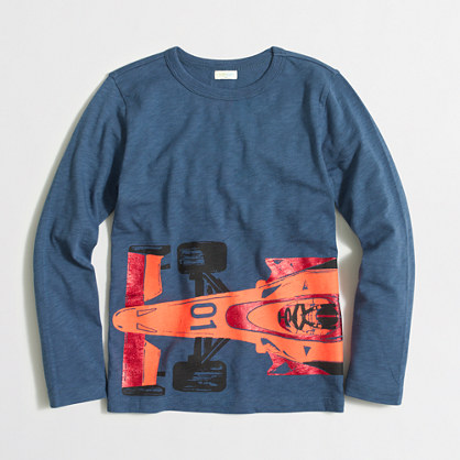 Boys' long-sleeve formula car storybook T-shirt