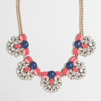 Crystal-lined clusters necklace