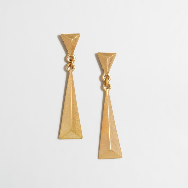 Hanging gold prism earrings