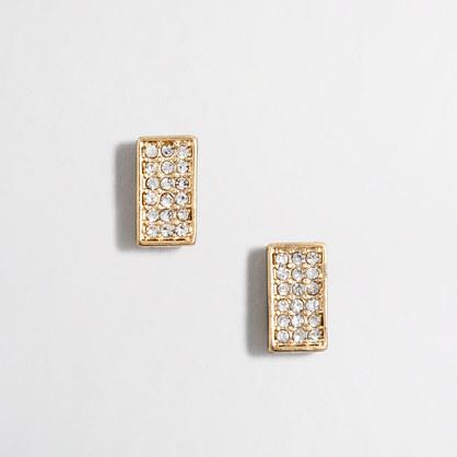Crystal rectangle stud earrings