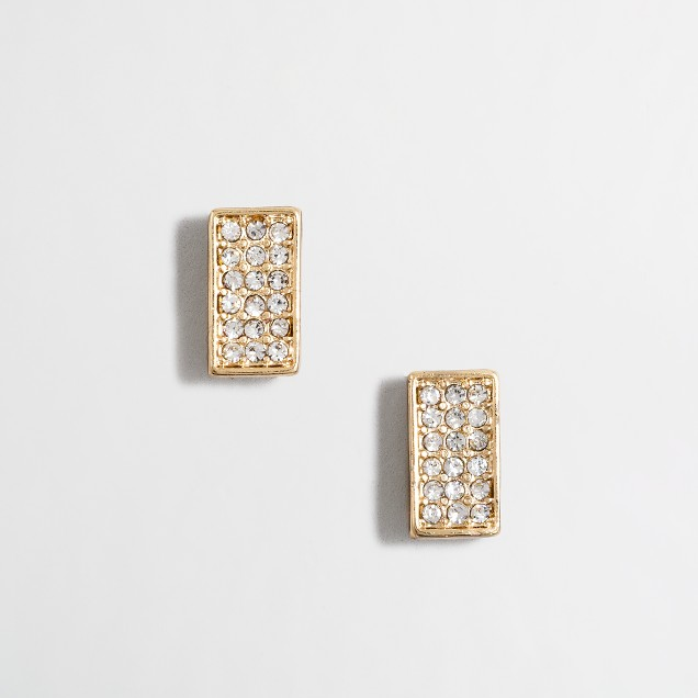 Crystal rectangle stud earrings