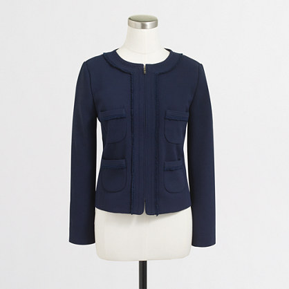 Cropped suiting jacket with fringe trim